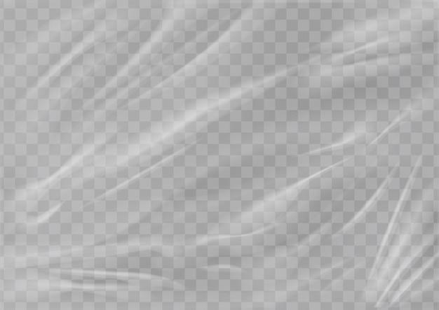Realistische plastikfolienstruktur gestreckte polyethylenhülle geknitterte oberfläche