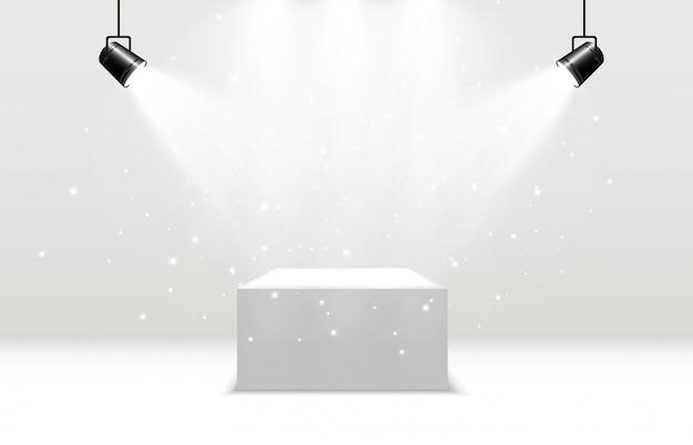 Realistische plattform mit scheinwerferlicht