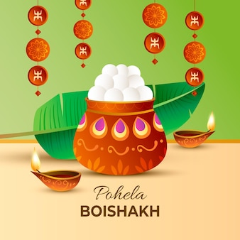 Realistische pohela boishakh illustration