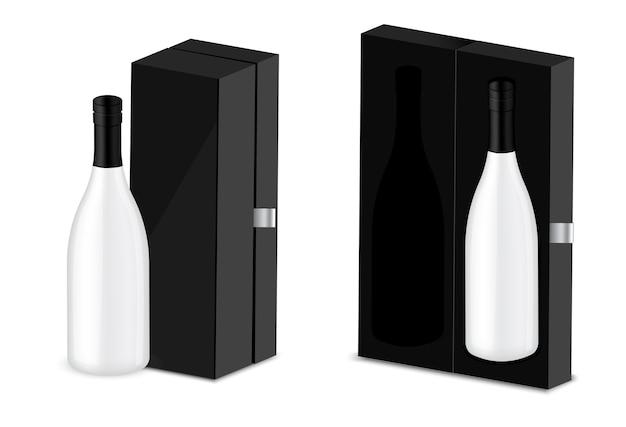Realistische premiumwein-alkohol-flasche, luxusbox-verpackungshintergrund