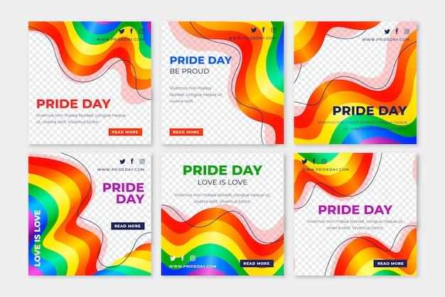 Realistische pride day instagram beiträge sammlung