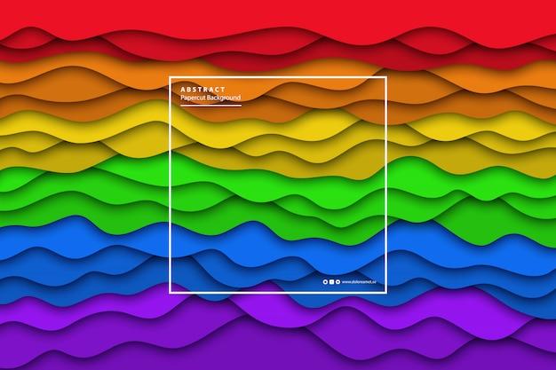 Realistische pride-flagge mit papierschnittschichthintergrund für dekoration und abdeckung. konzept der geometrischen zusammenfassung und lgbt.