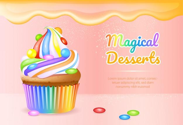 Realistische produktanzeigen-bannerschablone der magischen desserts