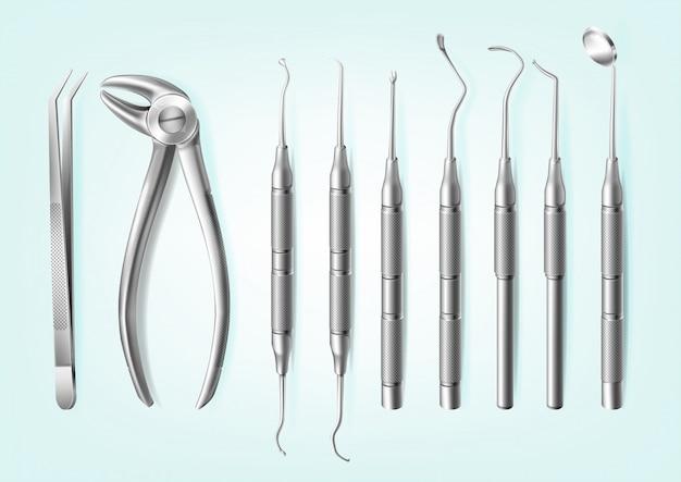 Realistische professionelle zahnwerkzeuge aus edelstahl für zähne