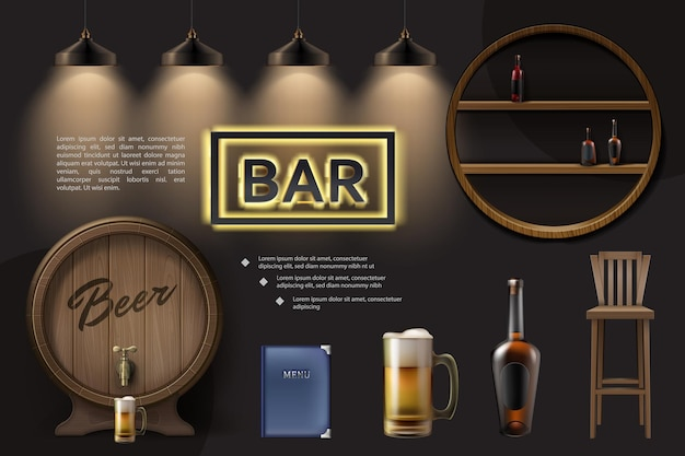 Realistische pub-elementzusammensetzung mit hölzernem fassbierglasstuhlmenülampenflaschen auf neonschild der regale Premium Vektoren