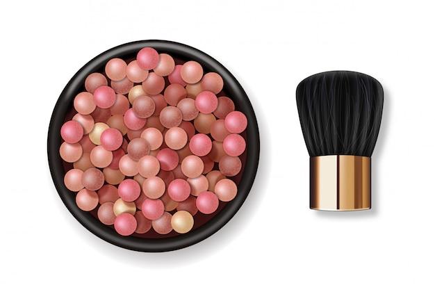 Realistische puderperlen und make-up-pinsel, make-up-produkt für gesicht, farbige kugeln kosmetik, illustration