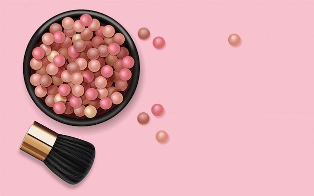 Realistische puderperlen und make-up-pinsel, make-up-produkt für gesicht, farbige kugeln kosmetik