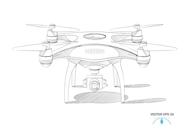 Realistische quad-copter-luftdrohne mit kamera-blaupause