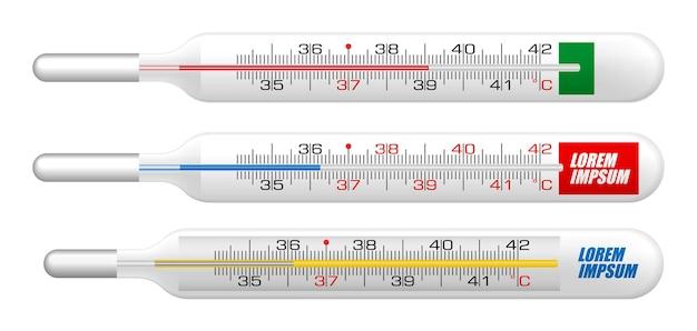 Realistische quecksilberthermometer isolierte darstellung oder raumtemperatur
