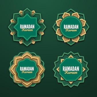 Realistische ramadan-abzeichensammlung