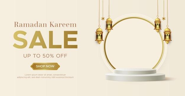 Realistische ramadan kareem verkauf banner vorlage mit 3d-podium