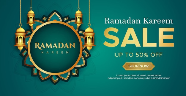 Realistische ramadan kareem verkauf banner vorlage
