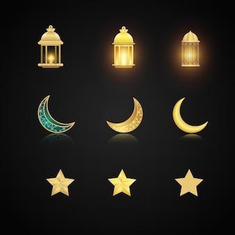 Realistische ramadan lampen, monde und sterne gesetzt
