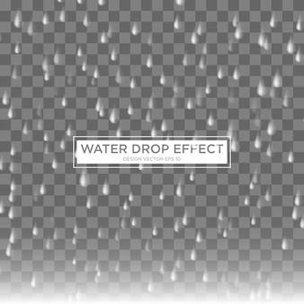 Realistische regen tropfen wasser effektvorlage