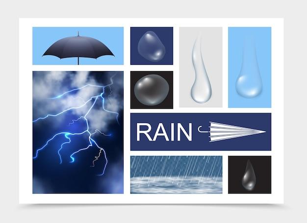 Realistische regenelementzusammensetzung mit blitzregenschirm-regentropfen verschiedener formen und regen mit wasserwellen isolierte illustration