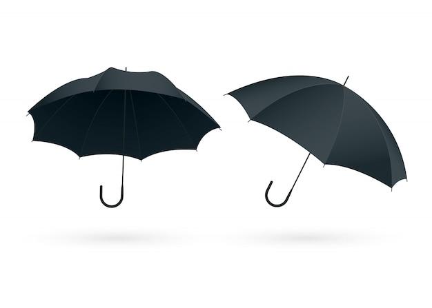 Realistische regenschirme schließen nah auf weiß