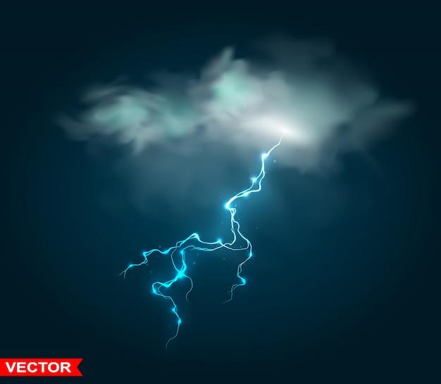 Realistische regenwolke mit gewitterblitz
