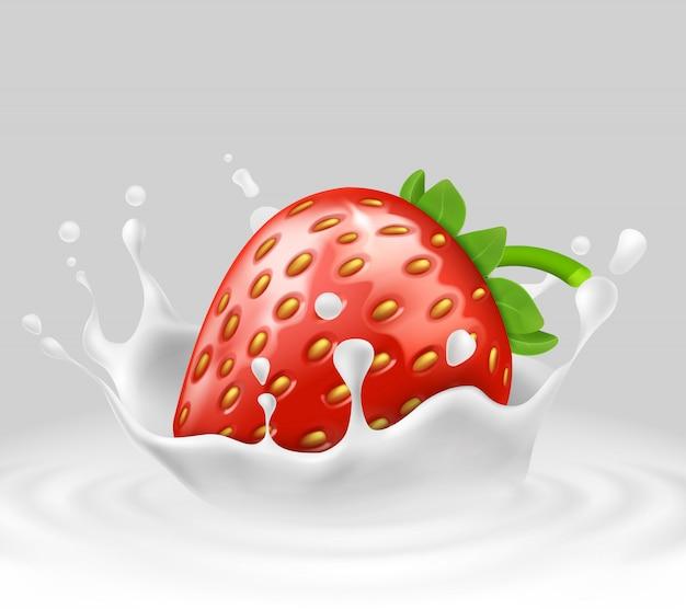 Realistische reife erdbeere 3d in spritzender milch. süßes essen mit spritzer, tropfen
