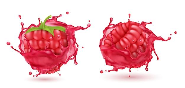 Realistische reife himbeeren 3d, wenn roter saft gespritzt wird. süßes essen mit spritzer, tropfen isoliert