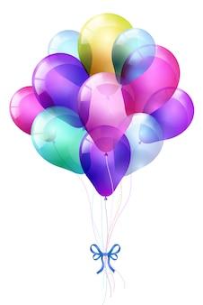 Realistische reihe fliegender glänzender ballons und mehrfarbig