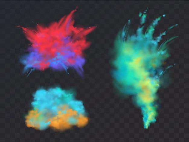 Realistische reihe von bunten pulver wolken oder explosionen, isoliert auf transparentem hintergrund.
