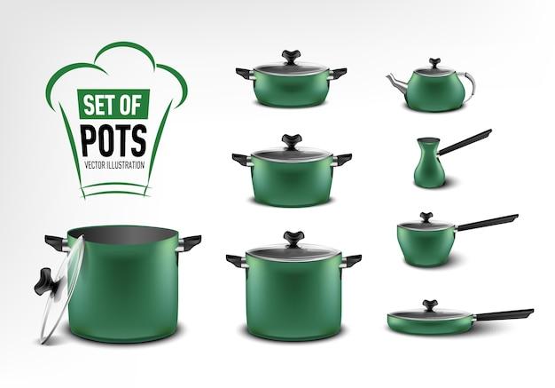 Realistische reihe von grünen küchengeräten, töpfe in verschiedenen größen, kaffeemaschine, türke, schmortopf, pfanne, wasserkocher