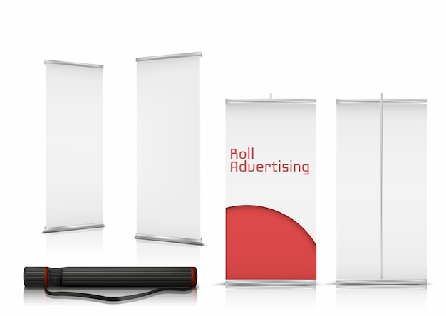 Realistische reihe von leeren roll-up-banner, vertikale steht mit papier leinwände für werbung