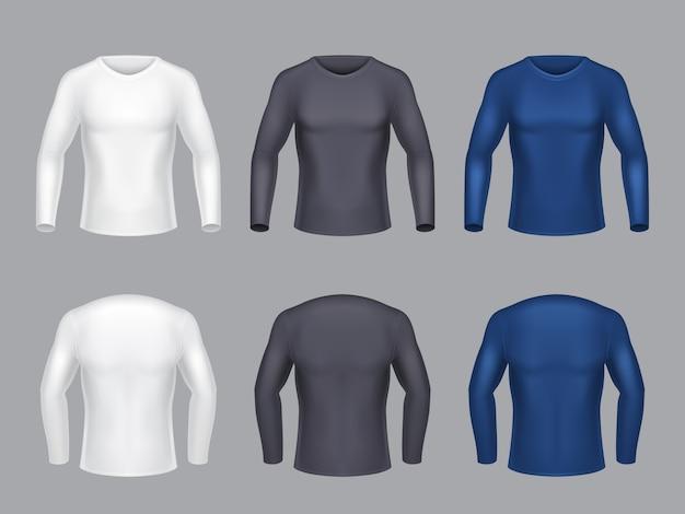 Realistische reihe von leeren shirts mit langen ärmeln für männer, männliche freizeitkleidung, sweatshirts