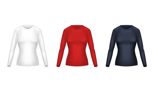 Realistische reihe von leeren shirts mit langen ärmeln, weibliche freizeitkleidung, warme sweatshirts