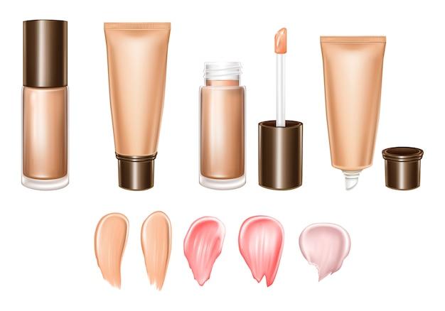 Realistische reihe von lippenstiften oder grundierung - flüssigkeit, creme, abstriche des produktes