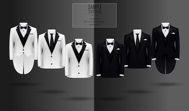 Realistische reihe von schwarzen und weißen anzügen und smoking