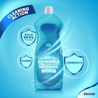 Realistische reinigungsprodukte ad