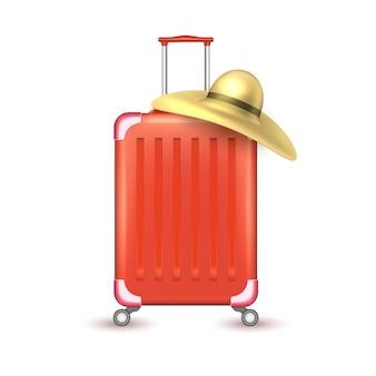 Realistische reisekoffer tasche urlaub