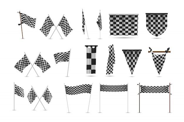 Realistische rennflaggen setzen sammlung