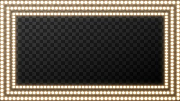 Realistische retro- glühlampe im quadrat. glühendes filmschild mit goldener glühlampe mit leerstelle für text.