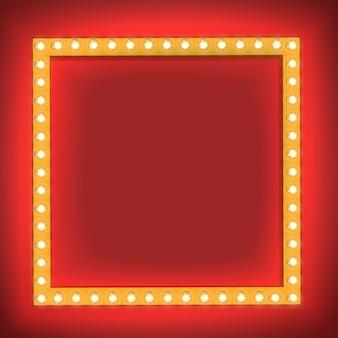 Realistische retro- glühlampe im quadrat. glühendes kino-schild mit glühlampe mit einer leerstelle für text. 3d volumetrischer rahmen
