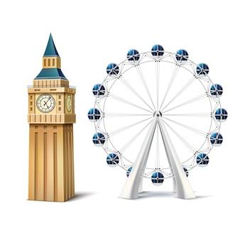 Realistische riesenrad und london eye big ben großbritannien berühmte sehenswürdigkeiten