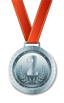 Realistische ronze-medaille mit rotem band
