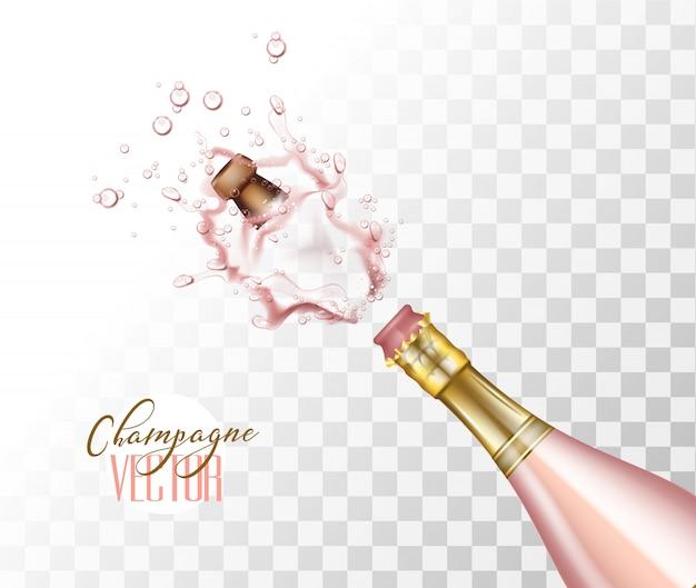 Realistische rosa champagner-explosion mit knallender kork-nahaufnahme auf transparentem hintergrund