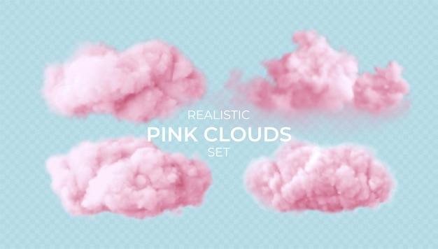 Realistische rosa flauschige wolken, die auf transparent gesetzt werden Kostenlosen Vektoren