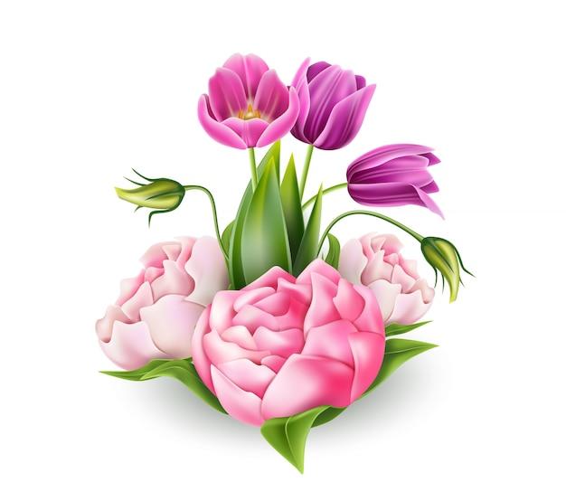 Realistische rosa pfingstrose und lila tulpe blüht elegantes bouquet mit grünen blättern. vintage romantisches element