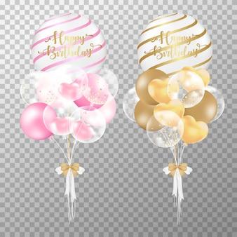 Realistische rosafarbene und goldene geburtstagsballone.