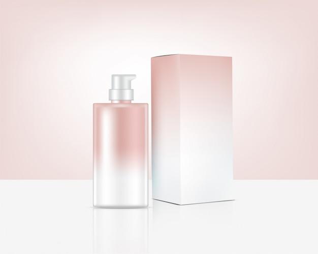 Realistische rose gold kosmetik und box für hautpflegeprodukte