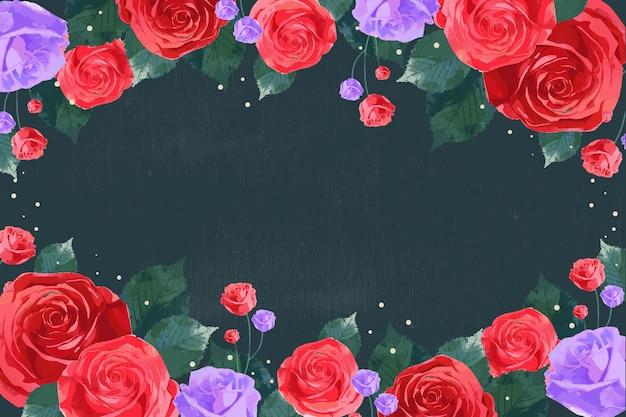 Realistische rosen gemalt auf dunklem hintergrund