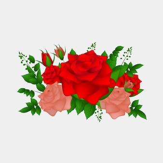 Realistische rosenblüten setzen vektor und illustration