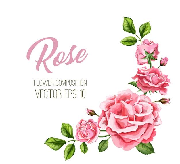Realistische rosenblumenblätter verziert vintage hochzeitskartenschablone mit elegantem aquarellblumenmuster. hintergrundillustration. hochzeitseinladungskarte