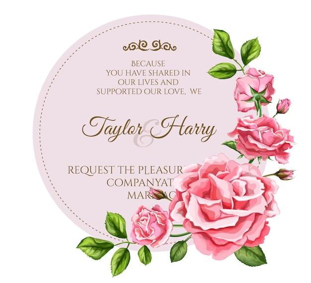 Realistische rosenblumenblätter verziert vintage hochzeitskartenschablone mit elegantem aquarellblumenmuster. isolierte hintergrundillustration. hochzeit ehe einladungskarte design