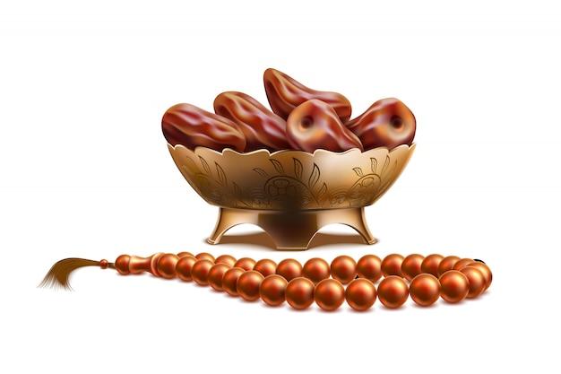 Realistische rosenkranzperlen, datteln ramadan symbole