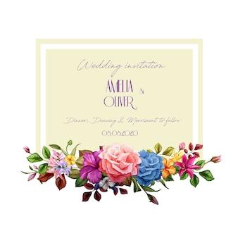 Realistische rosenlilie hibiskusblütenblätter verziert vintage vorlage mit elegantem aquarell blumenmuster. hintergrundillustration. hochzeitseinladungskarte