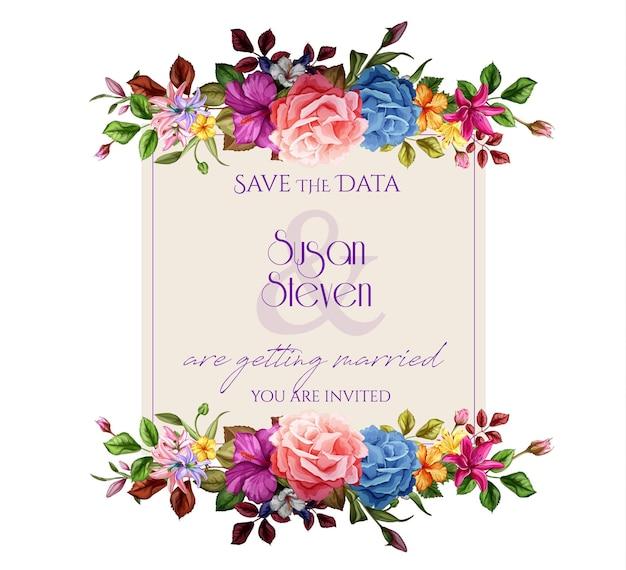Realistische rosenlilie hibiskusblütenblätter verziert vintage vorlage mit elegantem aquarell blumenmuster. isolierte hintergrundillustration. hochzeit ehe einladungskarte design